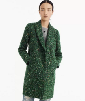Tweed coat in peacock green, $298