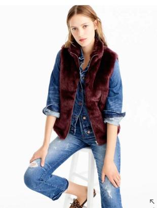 Faux fur vest, $125