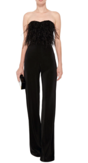 Aurielle feathered jumpsuit, $595