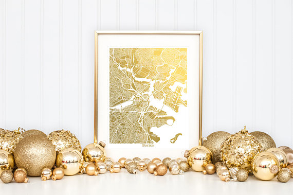 Gold Map Print, Perfect Holiday Gift