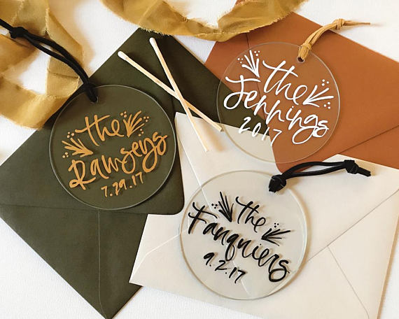 Perfect for Newlyweds: Custom Ornaments from Bare Ink Co.